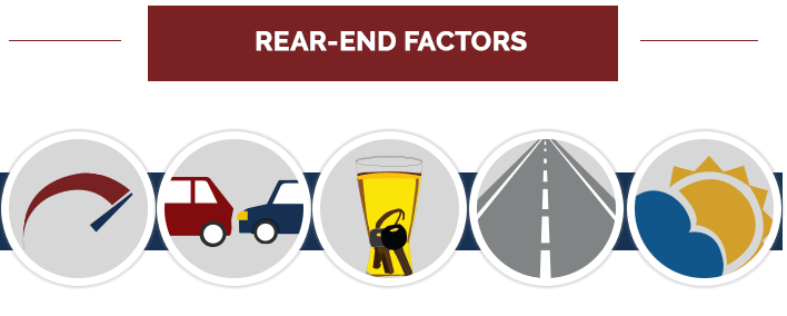 Diagram of things that contribute to rear end accidents